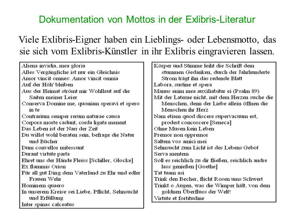 Dokumentation von Mottos in der Exlibris-Literatur