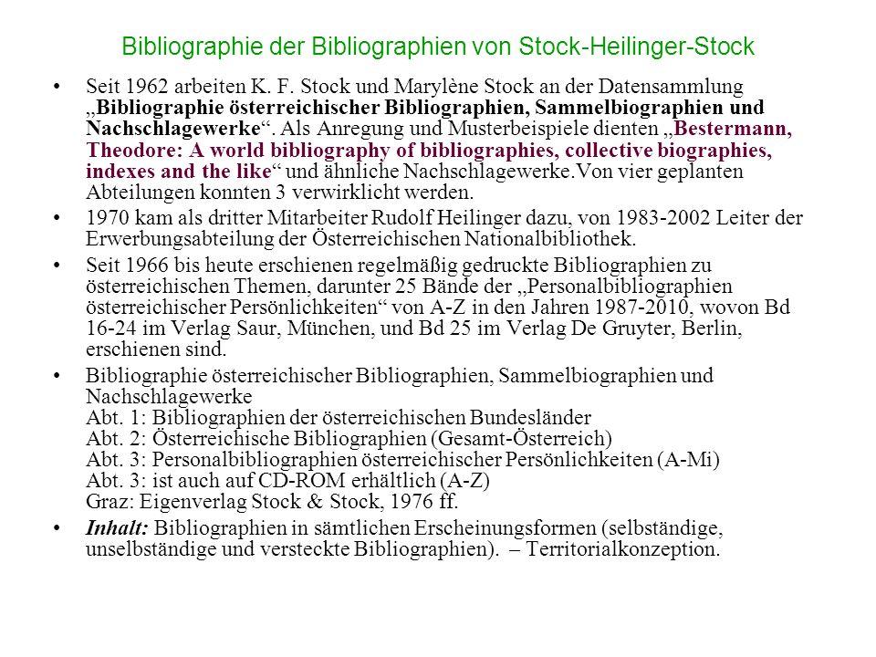 Bibliographie der Bibliographien von Stock-Heilinger-Stock