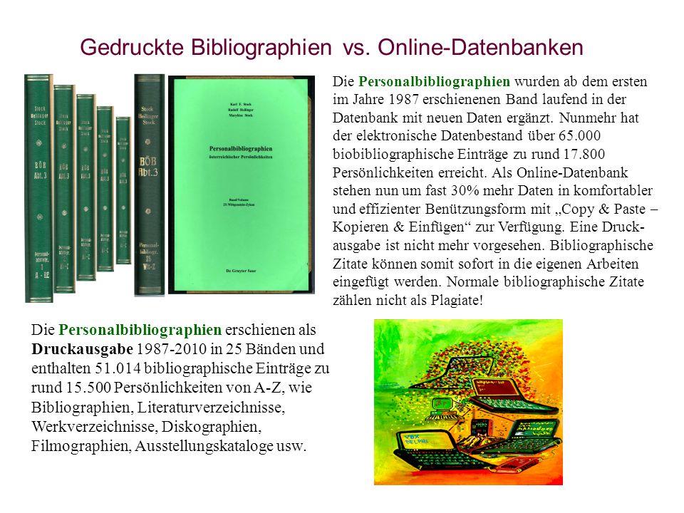 Gedruckte Bibliographien vs. Online-Datenbanken