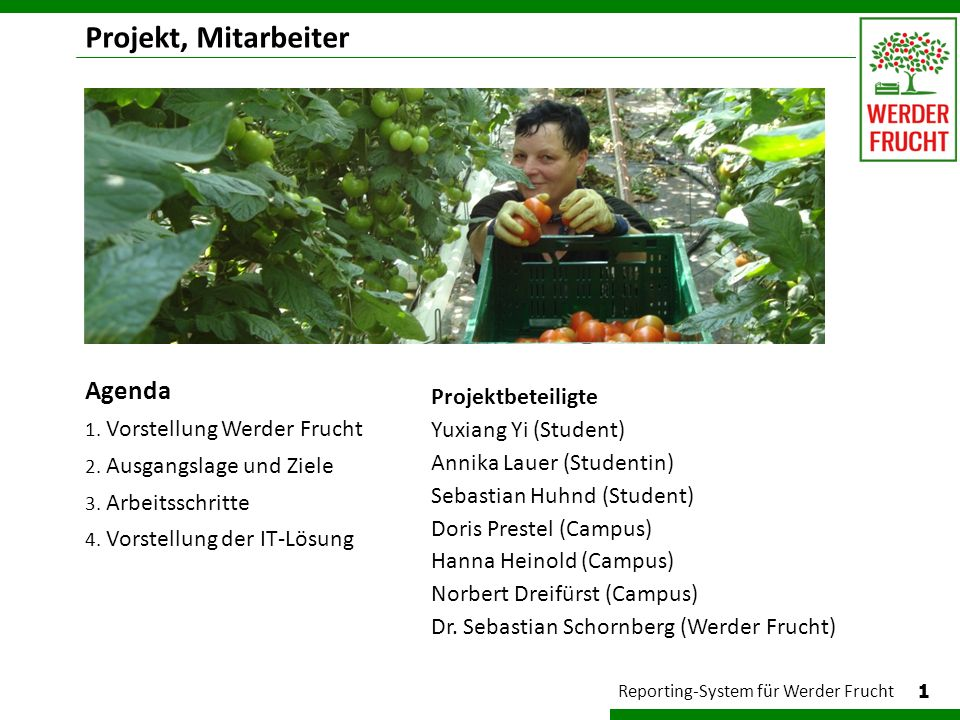 Projekt, Mitarbeiter Agenda Projektbeteiligte Yuxiang Yi (Student)