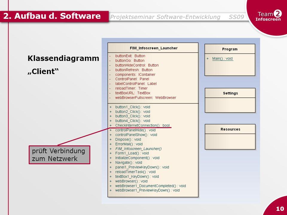 "2. Aufbau d. Software Klassendiagramm ""Client prüft Verbindung"