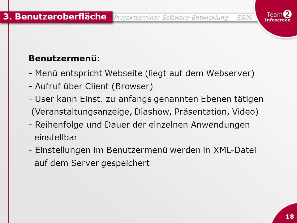 - Menü entspricht Webseite (liegt auf dem Webserver)