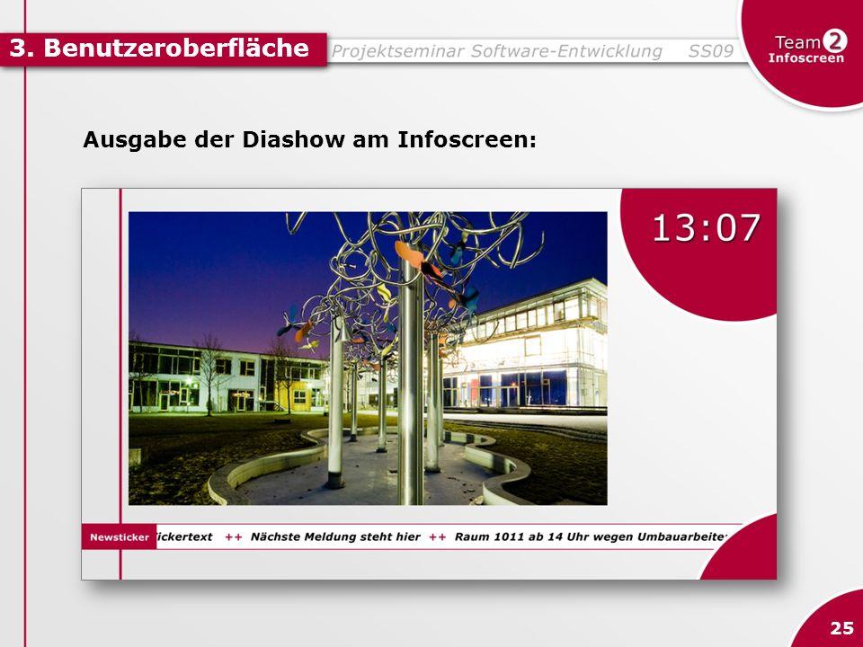 3. Benutzeroberfläche Ausgabe der Diashow am Infoscreen: 25
