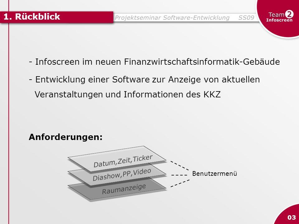 - Infoscreen im neuen Finanzwirtschaftsinformatik-Gebäude