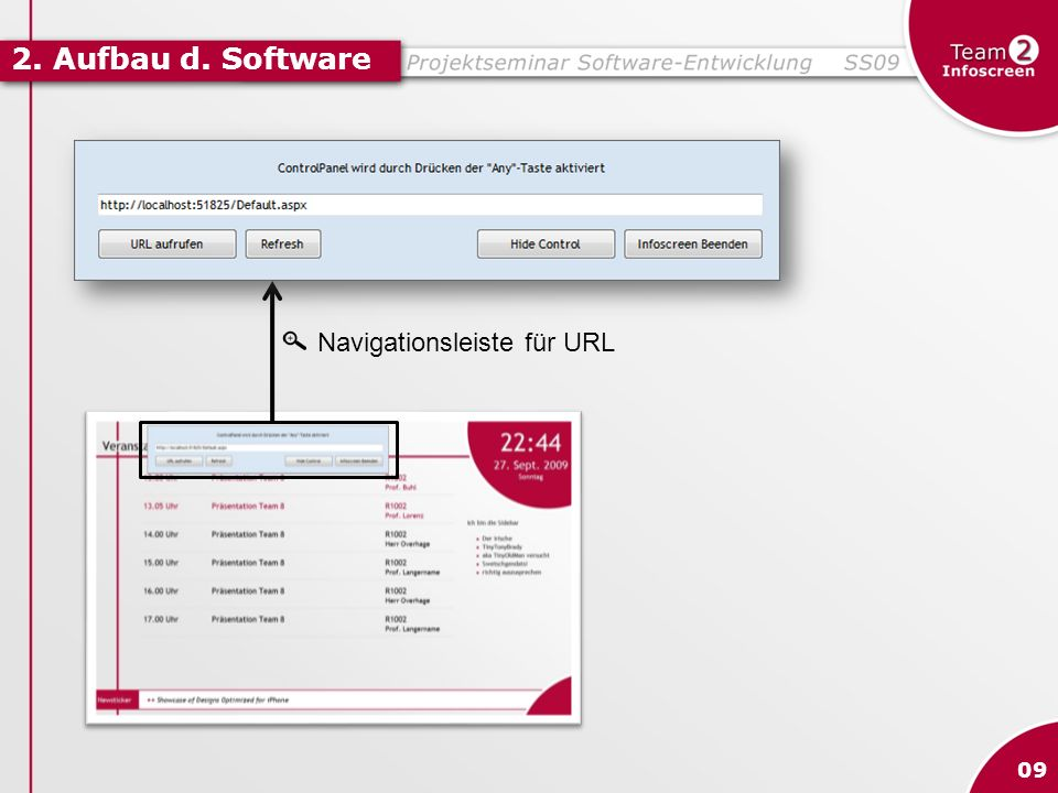 2. Aufbau d. Software Navigationsleiste für URL 09