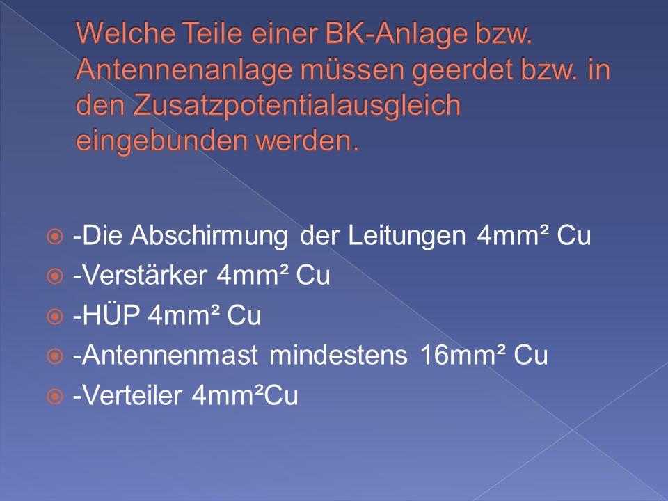 Welche Teile einer BK-Anlage bzw. Antennenanlage müssen geerdet bzw