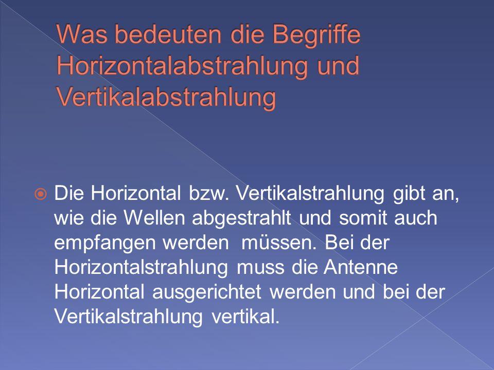 Was bedeuten die Begriffe Horizontalabstrahlung und Vertikalabstrahlung