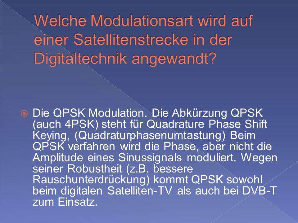 Welche Modulationsart wird auf einer Satellitenstrecke in der Digitaltechnik angewandt