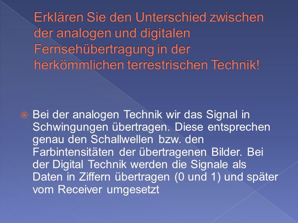 Erklären Sie den Unterschied zwischen der analogen und digitalen Fernsehübertragung in der herkömmlichen terrestrischen Technik!