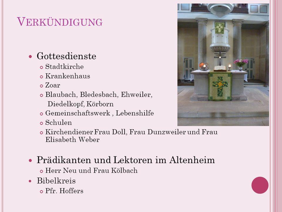 Verkündigung Gottesdienste Prädikanten und Lektoren im Altenheim