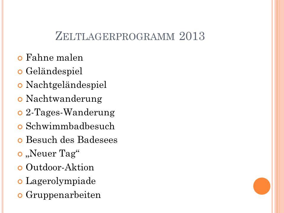 Zeltlagerprogramm 2013 Fahne malen Geländespiel Nachtgeländespiel