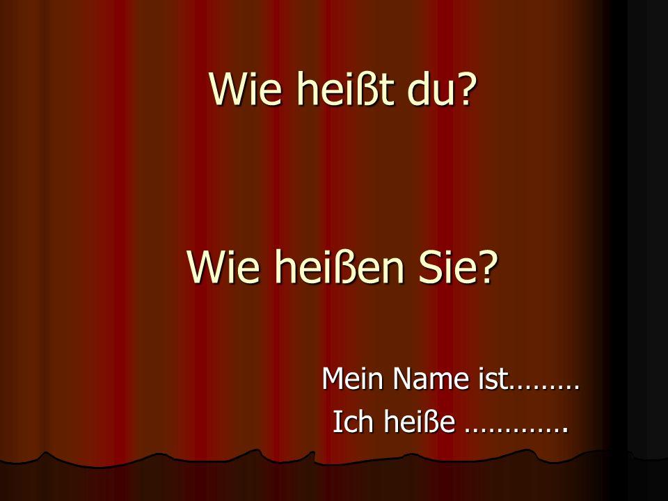 Mein Name ist……… Ich heiße ………….