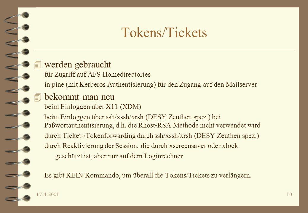 Tokens/Tickets werden gebraucht für Zugriff auf AFS Homedirectories