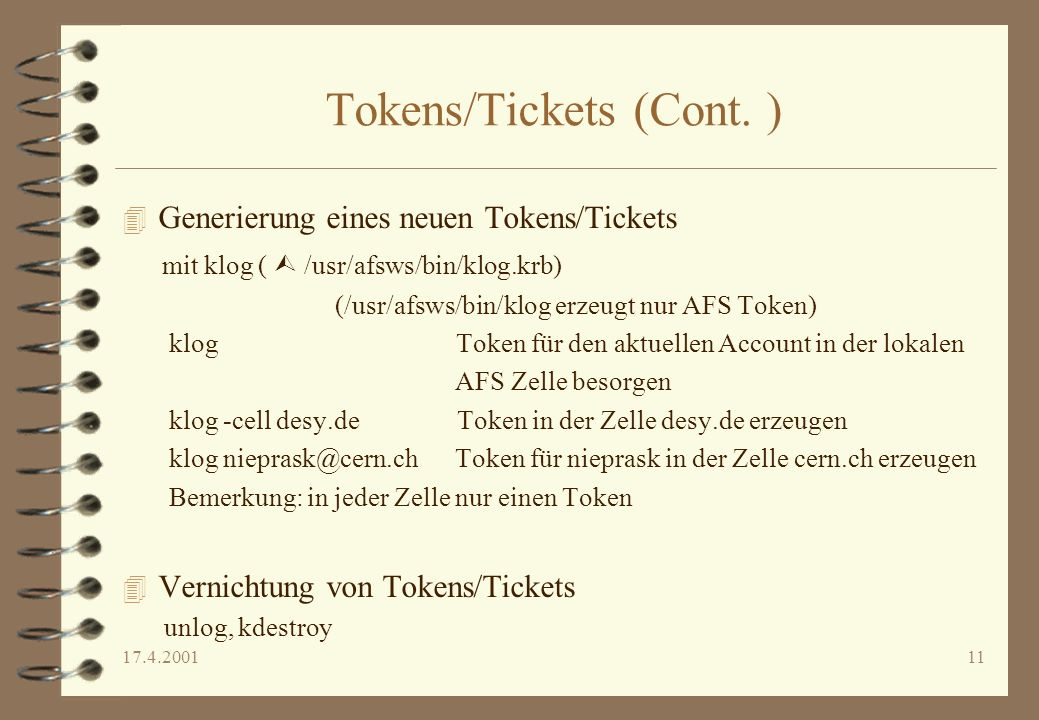 Tokens/Tickets (Cont. )