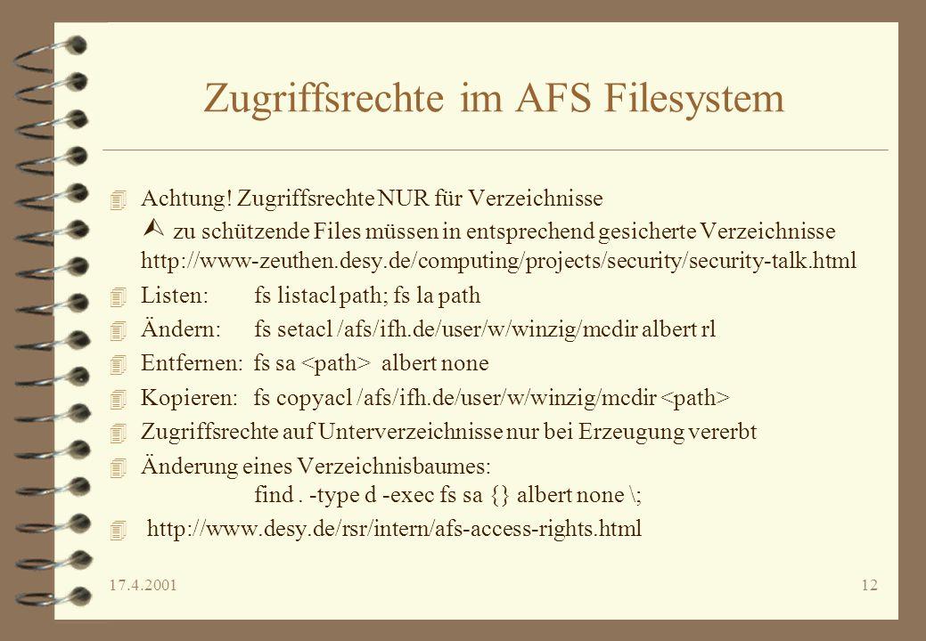 Zugriffsrechte im AFS Filesystem