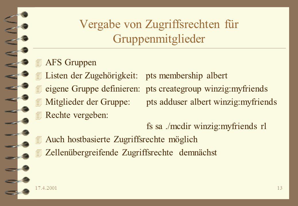 Vergabe von Zugriffsrechten für Gruppenmitglieder
