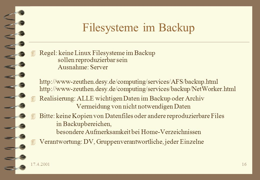 Filesysteme im Backup