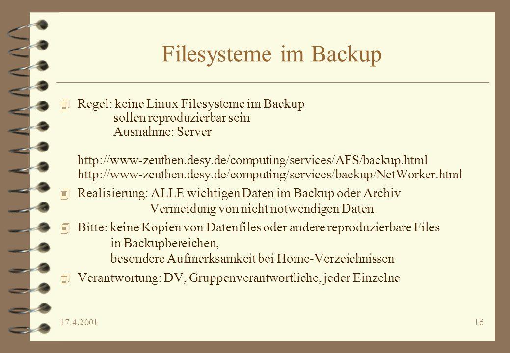 Filesysteme im Backup