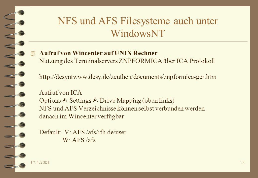 NFS und AFS Filesysteme auch unter WindowsNT