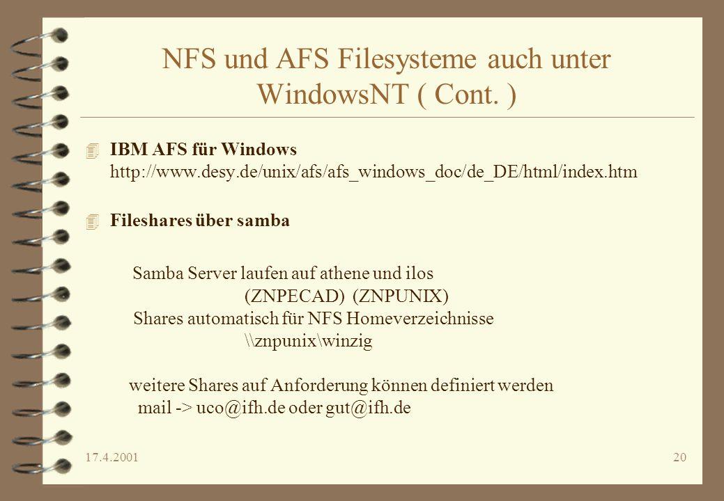 NFS und AFS Filesysteme auch unter WindowsNT ( Cont. )