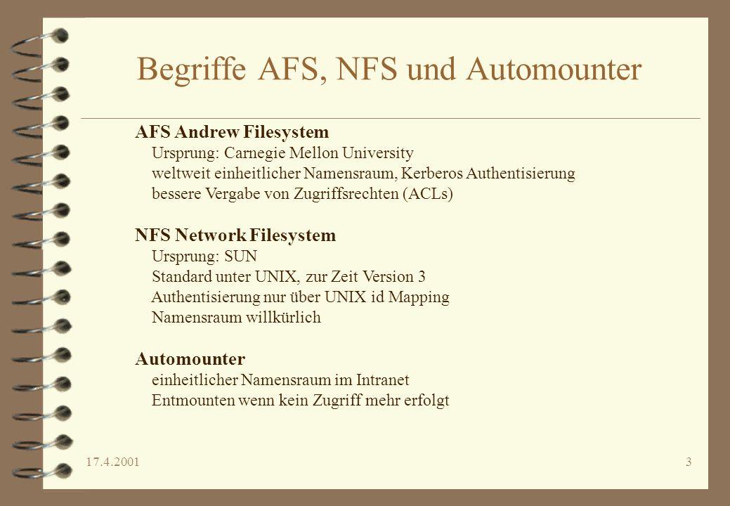 Begriffe AFS, NFS und Automounter