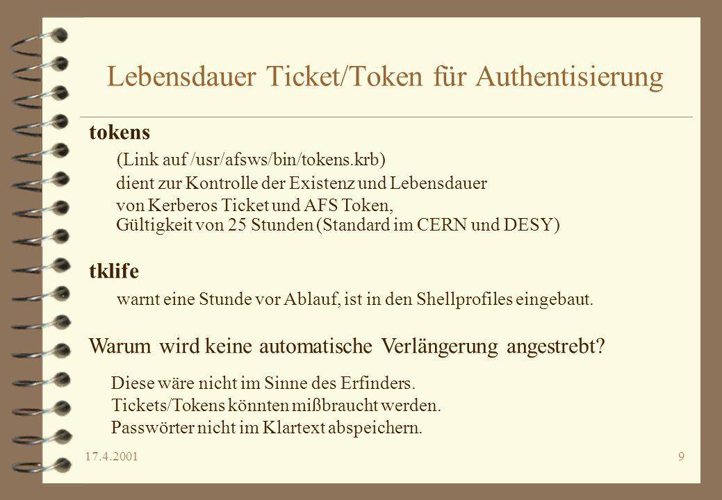 Lebensdauer Ticket/Token für Authentisierung