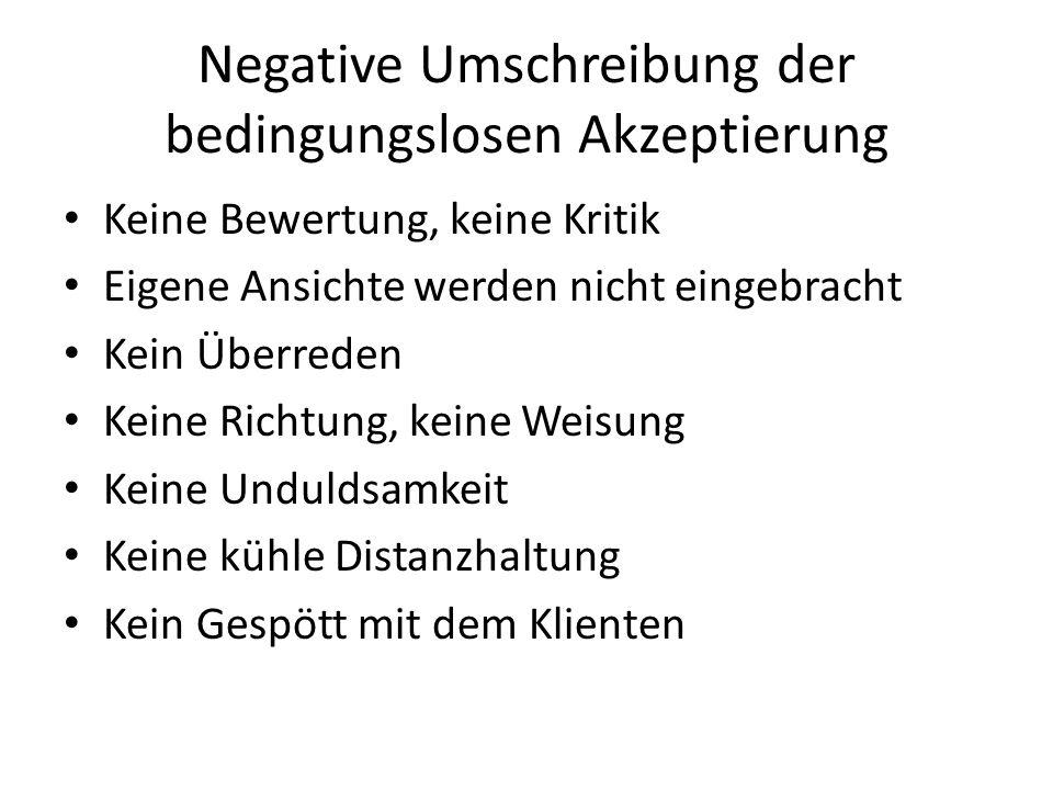Negative Umschreibung der bedingungslosen Akzeptierung