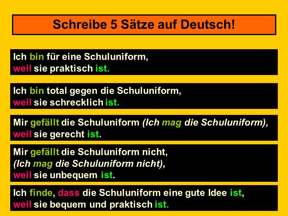 Schreibe 5 Sätze auf Deutsch!