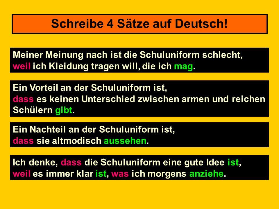 Schreibe 4 Sätze auf Deutsch!