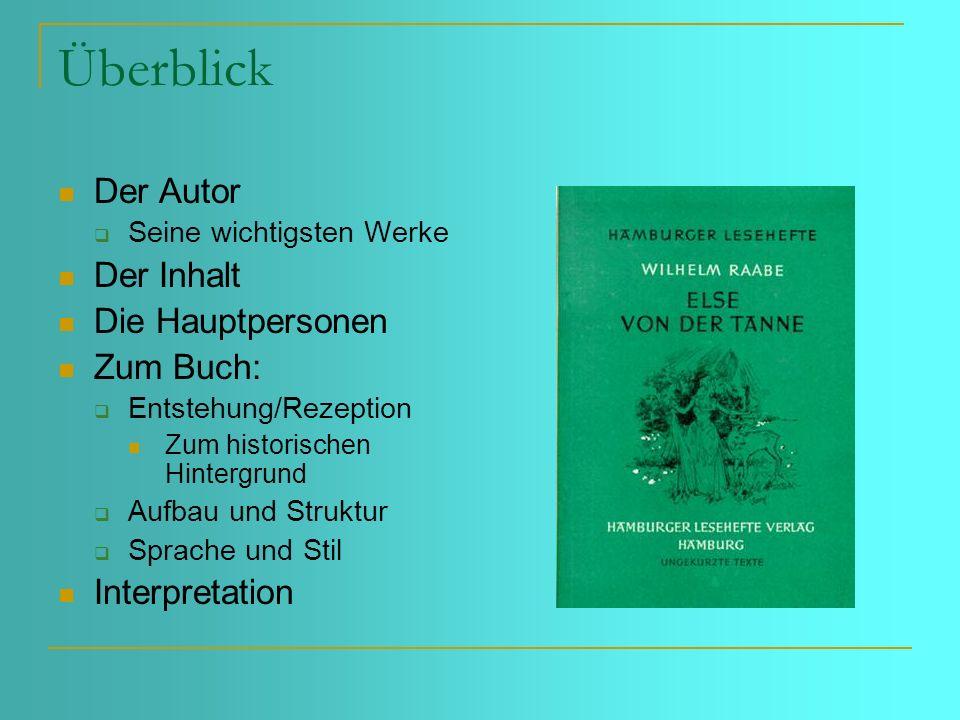 Überblick Der Autor Der Inhalt Die Hauptpersonen Zum Buch: