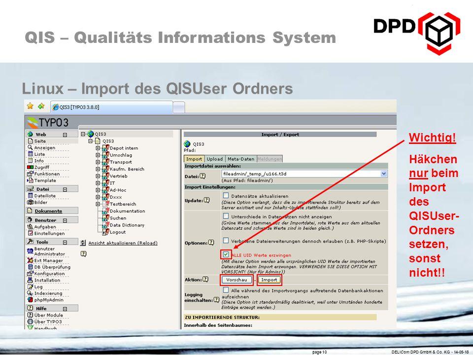 Linux – Import des QISUser Ordners