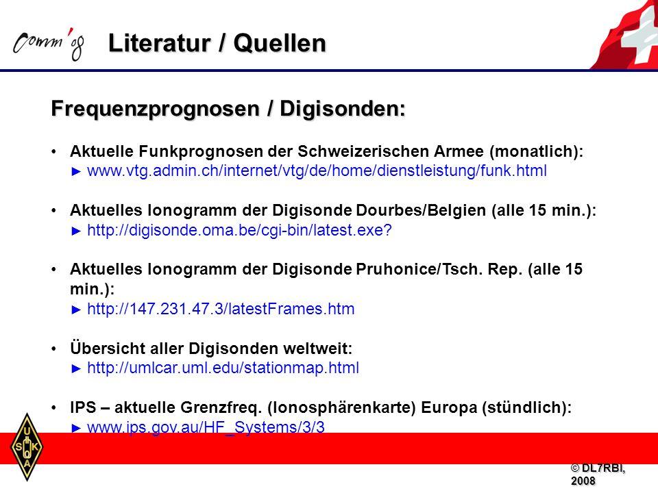 Literatur / Quellen Frequenzprognosen / Digisonden: