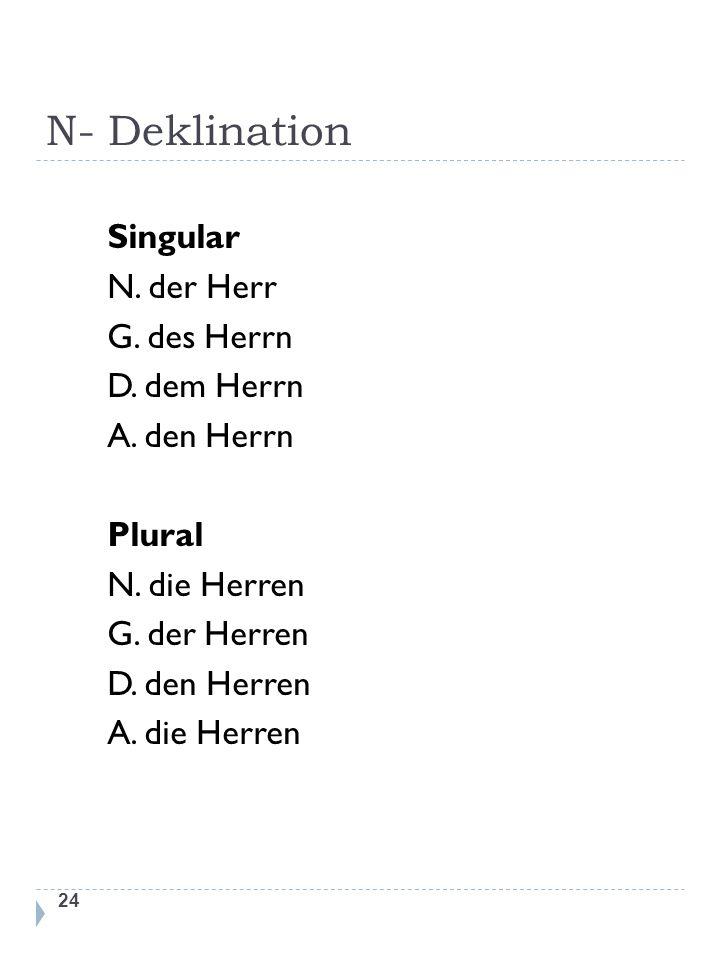 N- Deklination Singular N. der Herr G. des Herrn D.