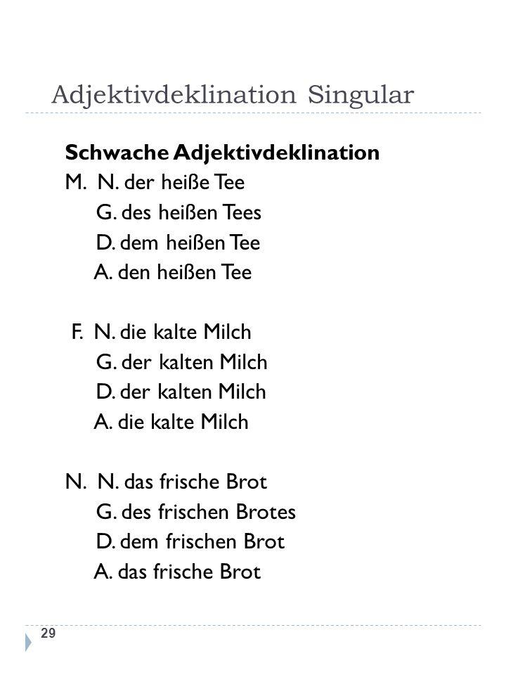 Adjektivdeklination Singular