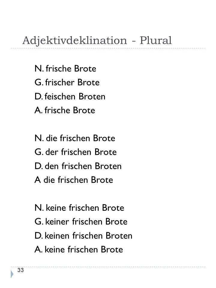 Adjektivdeklination - Plural