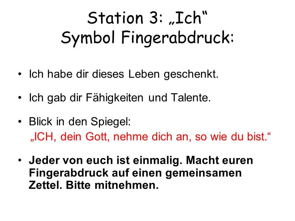 """Station 3: """"Ich Symbol Fingerabdruck:"""