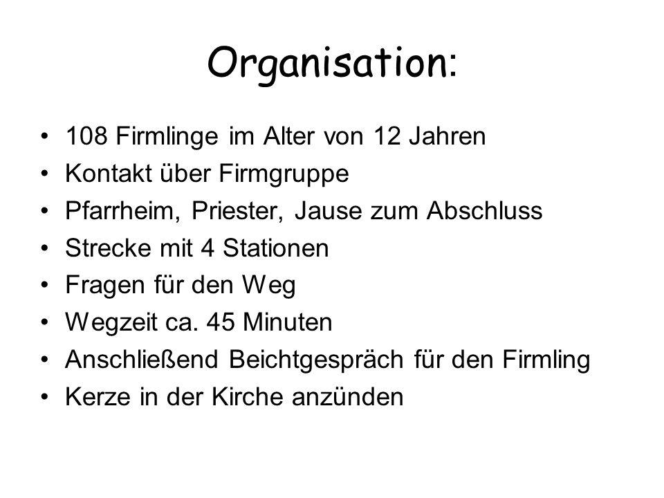 Organisation: 108 Firmlinge im Alter von 12 Jahren