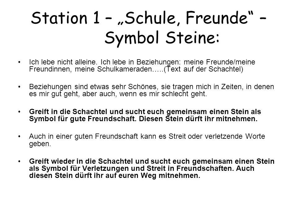 """Station 1 – """"Schule, Freunde – Symbol Steine:"""
