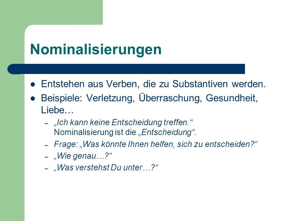 Nominalisierungen Entstehen aus Verben, die zu Substantiven werden.