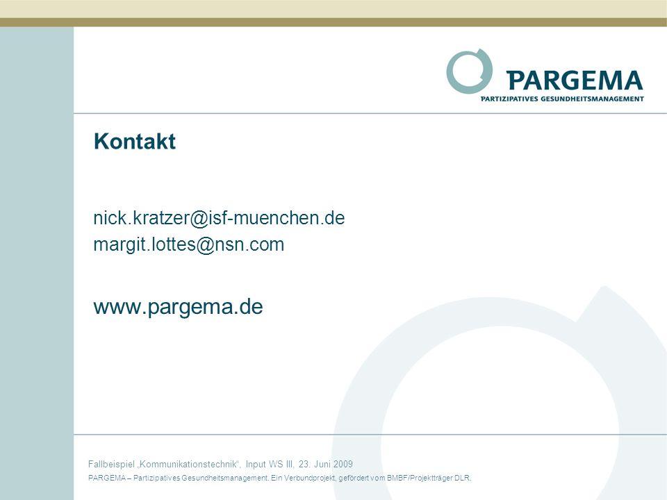 Kontakt www.pargema.de nick.kratzer@isf-muenchen.de