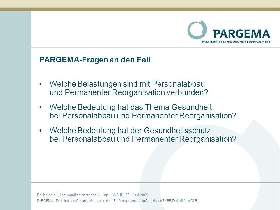 PARGEMA-Fragen an den Fall