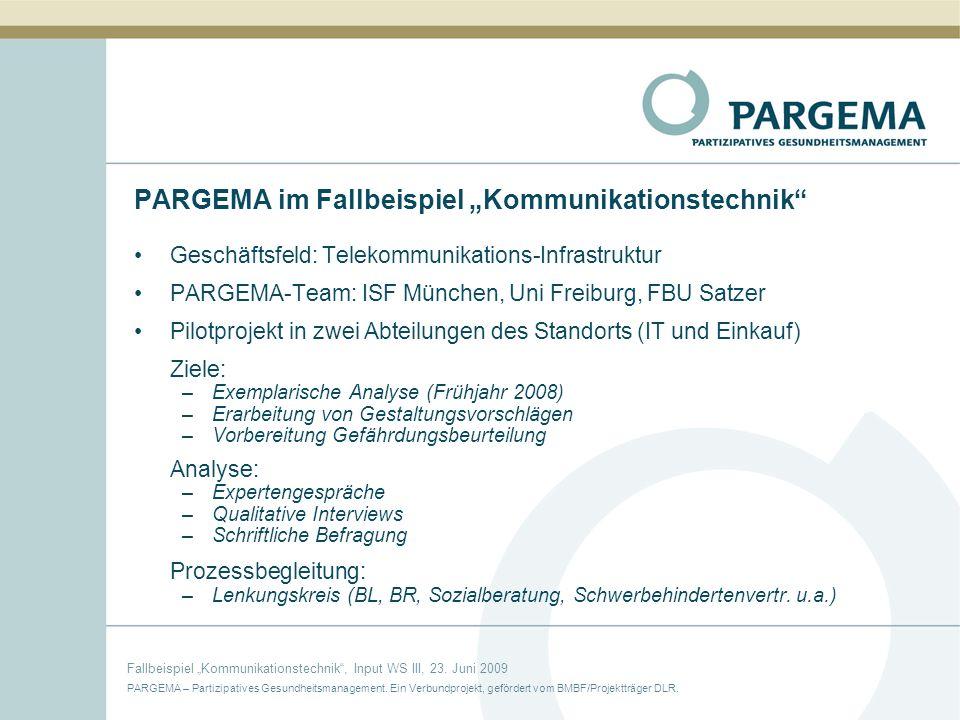 """PARGEMA im Fallbeispiel """"Kommunikationstechnik"""