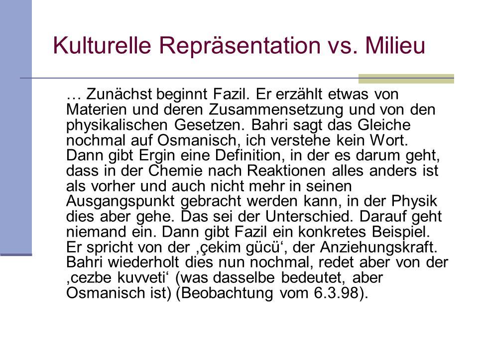 Kulturelle Repräsentation vs. Milieu