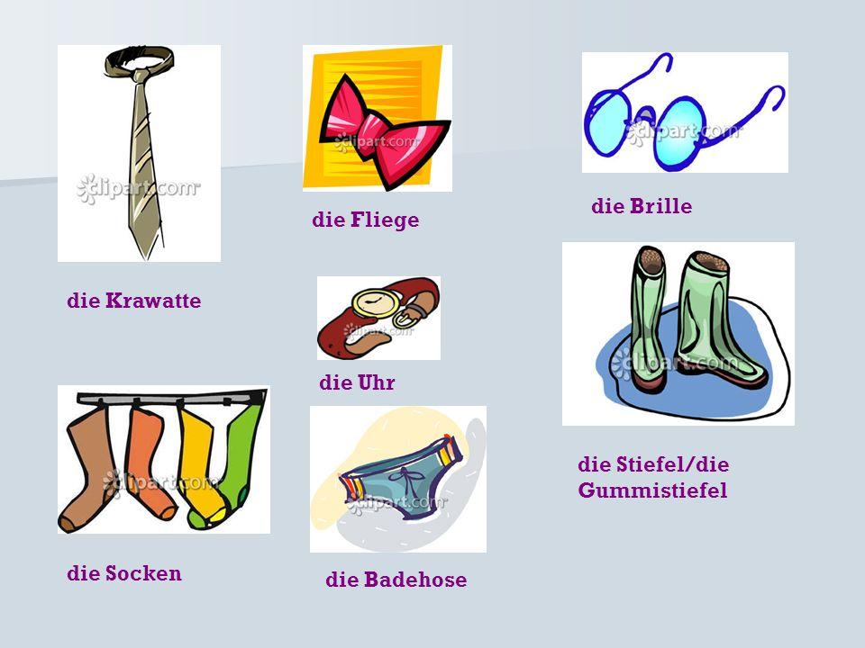 die Brille die Fliege die Krawatte die Uhr die Stiefel/die Gummistiefel die Socken die Badehose