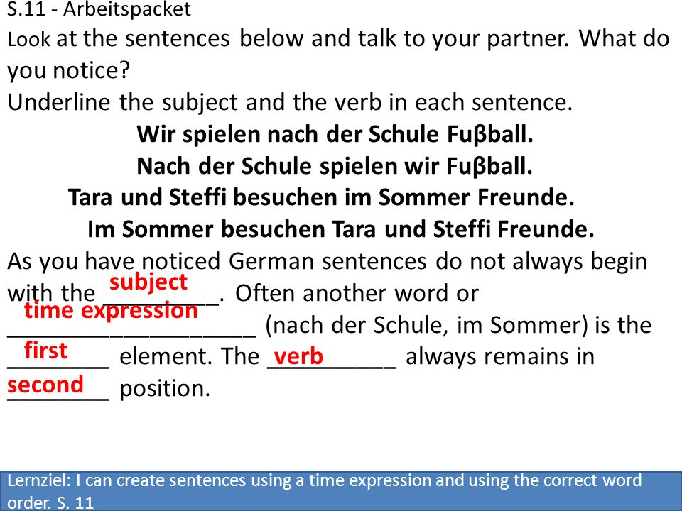 Underline the subject and the verb in each sentence.