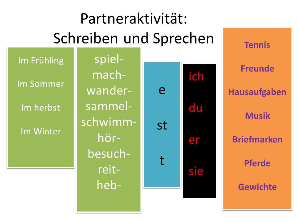 Partneraktivität: Schreiben und Sprechen