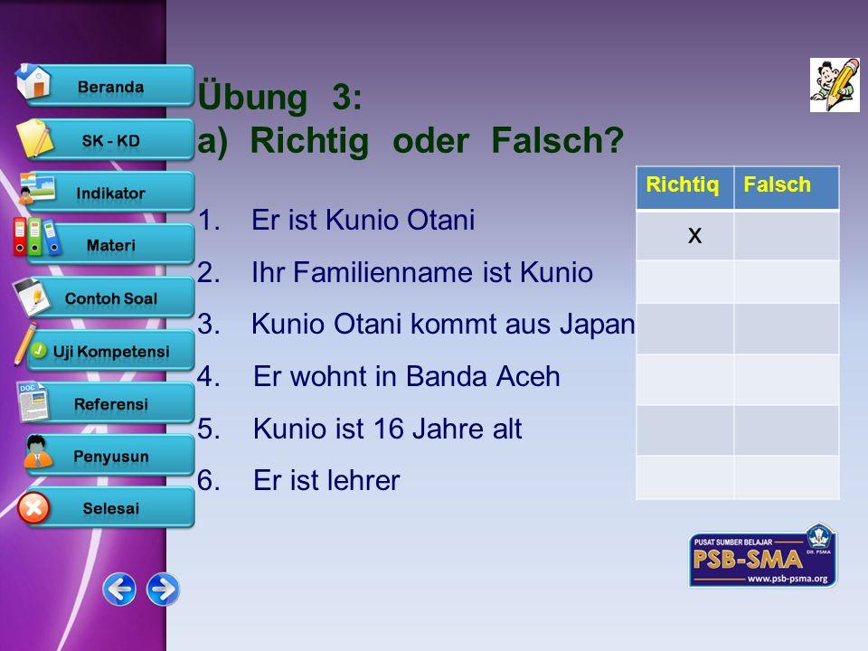 Übung 3: a) Richtig oder Falsch