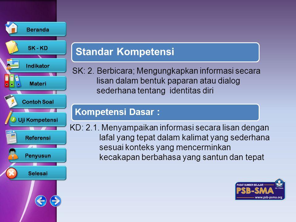 Standar Kompetensi SK: 2. Berbicara; Mengungkapkan informasi secara lisan dalam bentuk paparan atau dialog sederhana tentang identitas diri.