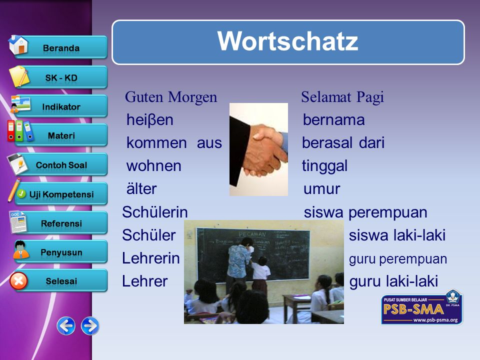 Wortschatz Guten Morgen Selamat Pagi heiβen bernama