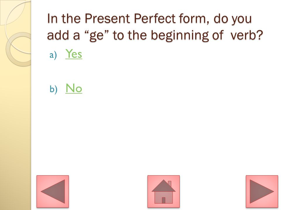 In the Present Perfect form, do you add a ge to the beginning of verb